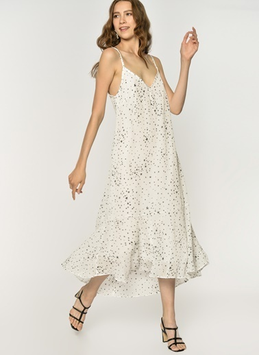 Loves You Yıldız Sim Geçişli A Form Elbise Beyaz